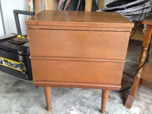 Before: 1970's end table with 2 drawers