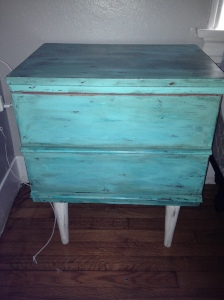 After: 1970 end table painted and antique glazed