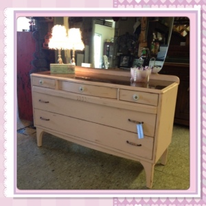 After: Child's pink dresser - left the top original stain