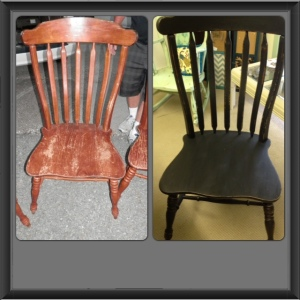 Before and after of tall back chairs - did 3 of them - painted black and lightly distressed