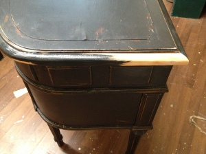 Before picture of Vanity - the side had a piece missing and it had lots of scratches.