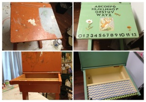 Old desk refurbished for my granddaughter. The picture of the cat was from a card I had saved from my childhood. I used stencils to put on the alphabet and numbers.