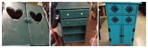 vintage country cabinet/shelf unit with heart doors transformed and updated - great for jewelry or lingerie