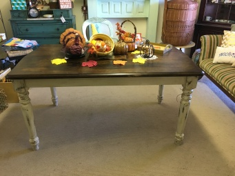 Farm style table - painted and distressed bottom and stained top $300