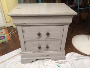 After of Nightstand - painted Sherwin Williams Essential Gray, clear waxed and then waxed with a little bit of black to give it that tinted black glaze effect
