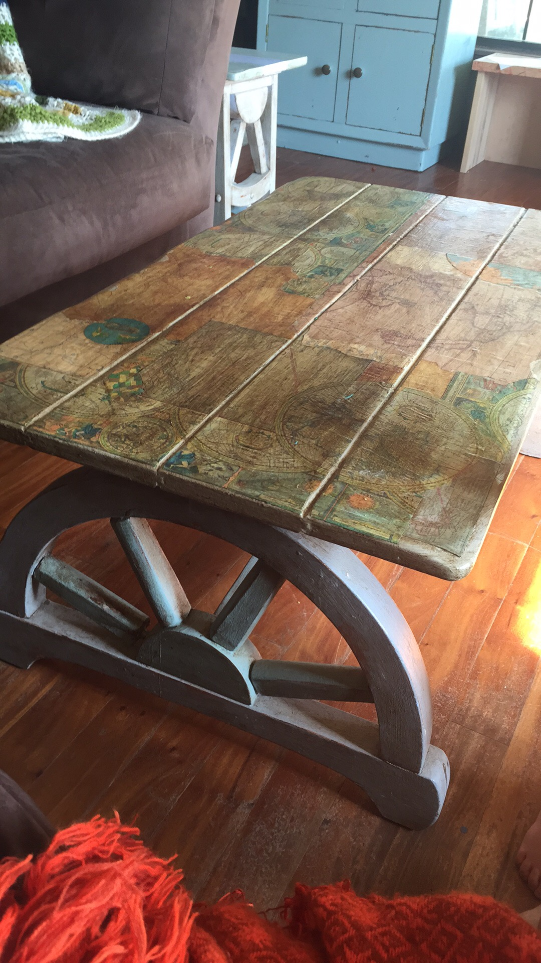 Vintage Wagon Wheel Coffee Table decoupaged with maps