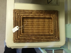 Set of 6 wicker basket trays $30