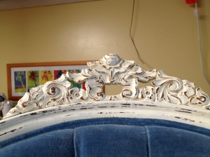 The antique white and distressing really showed up the intricate designs.