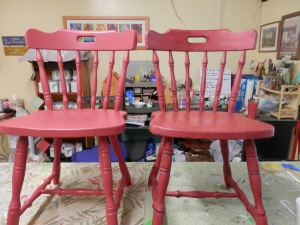 Chair on left has been painted antique red. Chair on right has been painted, distressed, clear waxed, and dark waxed.