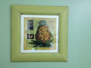 Butterfly and Pineapple Picture in painted and distressed frame