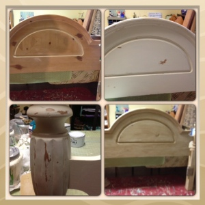 Before and After of Antique White Queen Bed