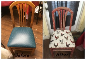 rooster chair before and after 2