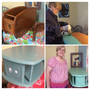 Sandra's project is an end table. She painted two different colors and lightly distressed. She will finish it at another time.