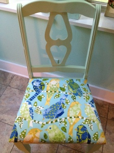 After: vintage chair painted green with bird fabric seat