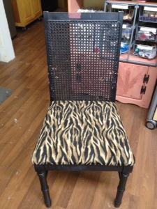 Before pic of cane back chair