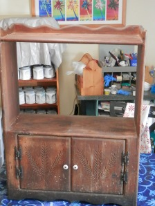before pic of vintage cabinet