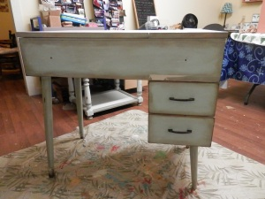 before pic of desk (used to be sewing machine cabinet)