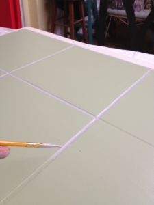 painting grout on table