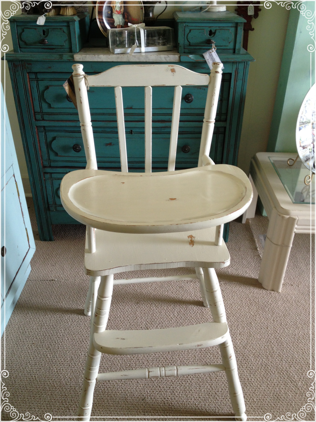 high chair pic 1 - Vintage Wooden Baby High Chair Ginger's Attic