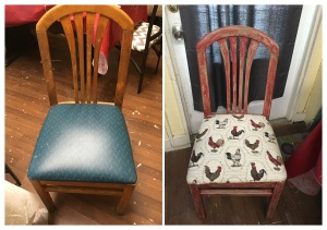 This shows the before and after of the chair.