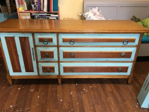 This was what it looked like when I experimented with leaving some wood on the drawers. It was interesting but not what the client had in mind.